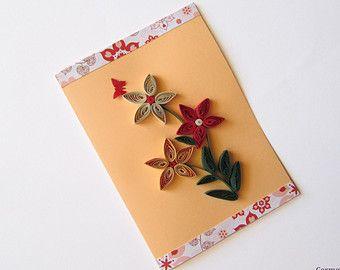 Frühlingsblumen Quilling-Karte, handgemachte Grußkarte, Geburtstagskarte