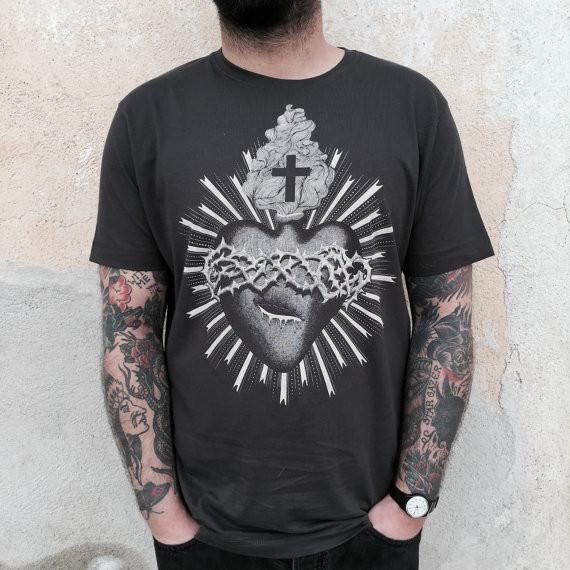 Black t-shirt with Sacred Heart design