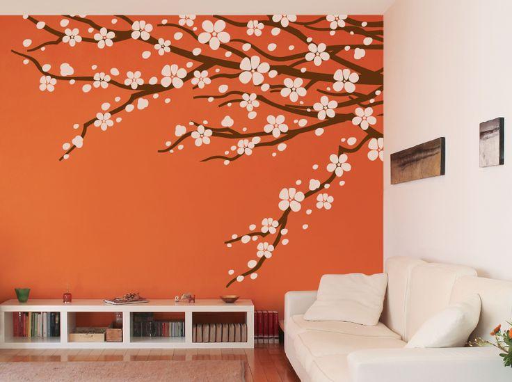 Vinil decorativo de rama con flores puedes pedirlo en - Aplicacion de microcemento en paredes ...