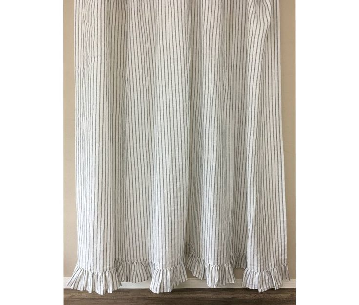 Iron White Ticking Striped Linen Shower Curtain With Ruffle Etsy