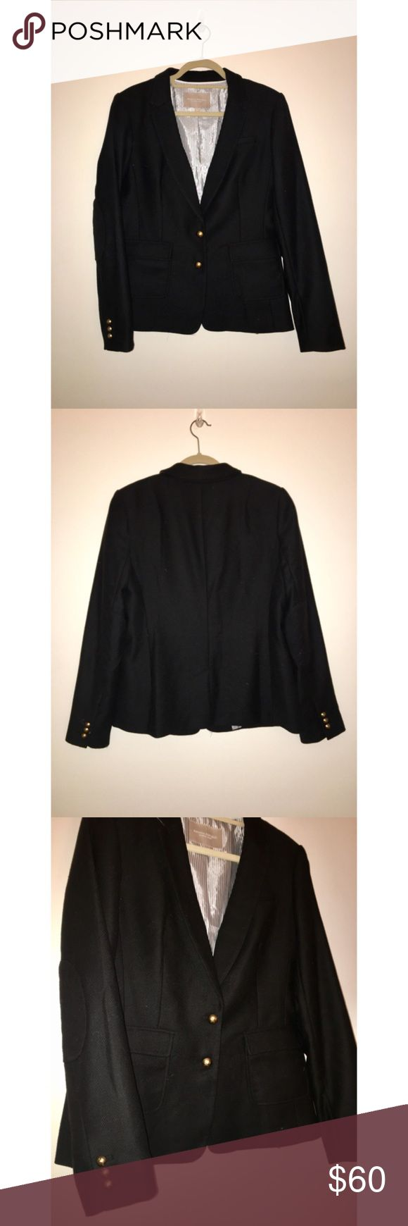 Black Hacking Jacket | Banana Republic Black wool blazer (Hacking Jacket style) from Banana Republic. Subtle elbow patches and gold buttons at front and on sleeves. Pockets. 59% wool, 36% polyester, 5% other fibers. EUC/ like new. Banana Republic Jackets & Coats Blazers