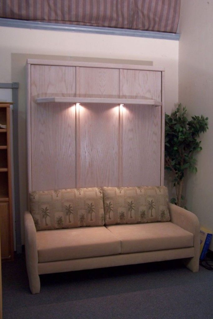 murphy bed couch ideas with rustic cabinet