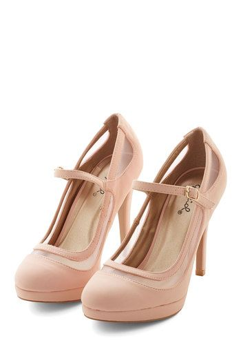 Soiree It Again Heel in Blush. Youll say it once, youll say it twice - you cant get enough of these pink heels! #gold #prom #modcloth