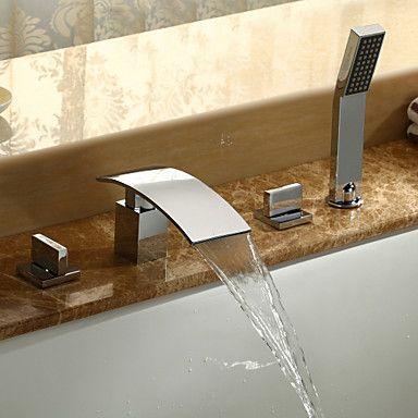 Bathtub Faucet - Contemporary Chrome Roman Tub Ceramic Valve / Brass / Three Handles Five Holes | For the Home | Pinterest | Bathroom, Bathroom bath and Bathtub