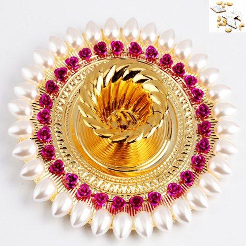 Gold and Pearl Diya with 500 gms Kaju Katli - Online Shopping for Diyas and Lights by Ghasitaram Gifts