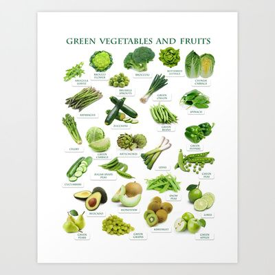 Green Fruits and Vegetables Art Print by Gabriela Tardea - $17.56