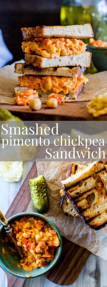 Smashed Pimento Chickpea Sandwich is hearty, flavor-packed and oh so easy! Smash…