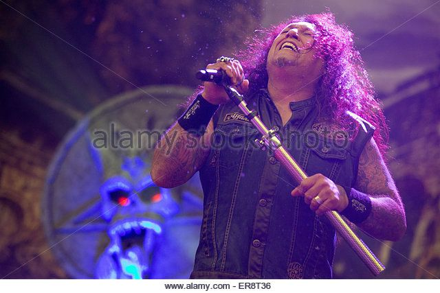 Chuck Billy, singer with US thrash metal band Testament, on stage during the Rock im Revier music festival at the - Stock-Bilder