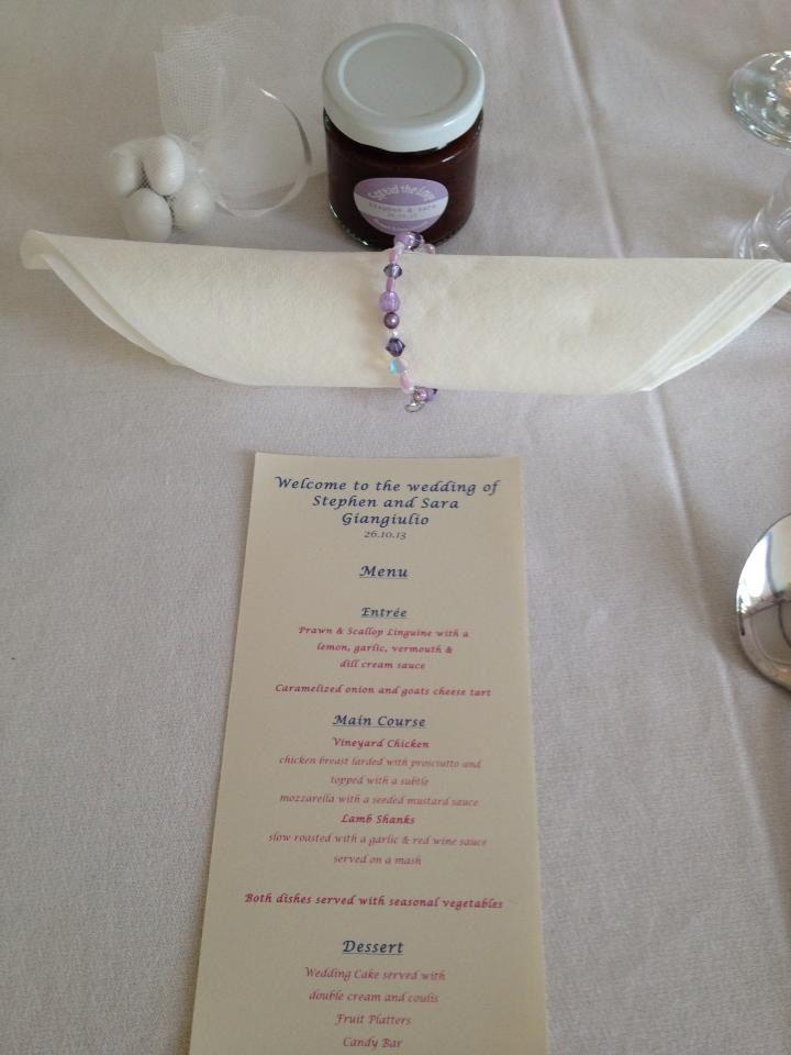 Napkin ring Wedding favours Pastel Menu
