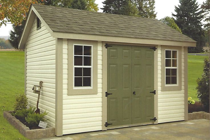 8' x 12', Pearl Vinyl, Weatherwood Shingles, Almond Trim, Avocado Doors; The model shown had Garden Vents and Diamond Plate;   Standard Features:  - 4' wide aluminum around doors, windows, and corners - Vented Soffit 6' Overhangs - Two 18' x 36' Windows - 71/2 12 Pitch
