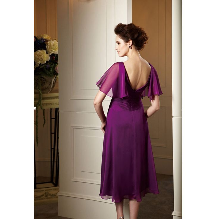 >> Click to Buy << Short Mother of the Bride Dresses Wiht Short Sleeve Formal Beach Wedding Party Purple Mother Dress Plus Size #Affiliate