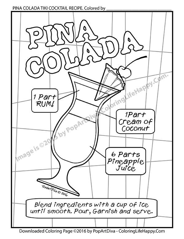Adult COLORING PAGE Pina Colada Tiki Cocktail by