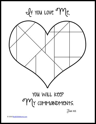 If You Love Me Keep My Commandments Coloring Page