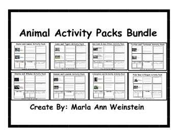 Animal Activity Packs Bundle includes 8 activity packs