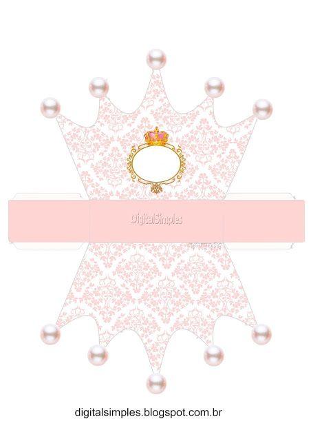 Corona en Dorado y Rosa: Caja con Forma de Corona para Imprimir Gratis.