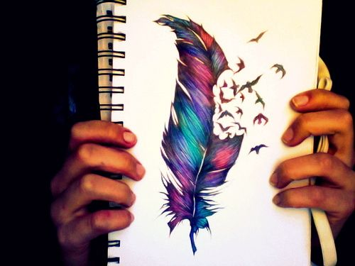 Love the feather drawing, the color combination is perfect