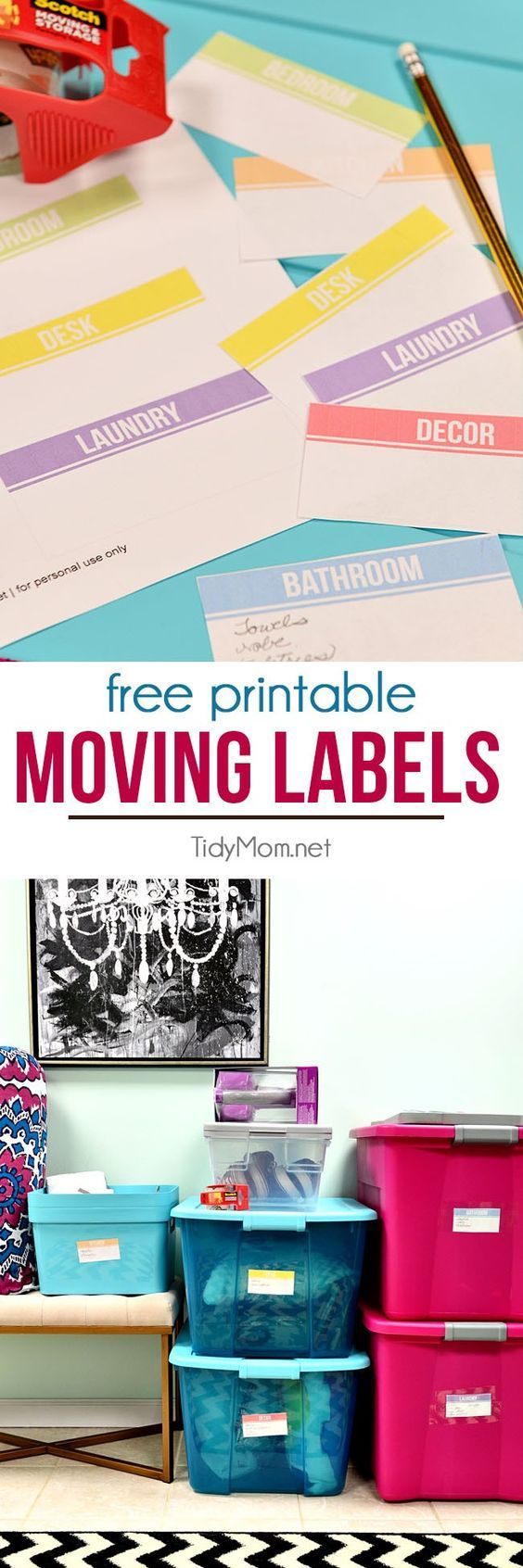 Stay organized during your move with FREE DIY printable moving labels with plenty of writing space for what's inside the box. at TidyMom.net