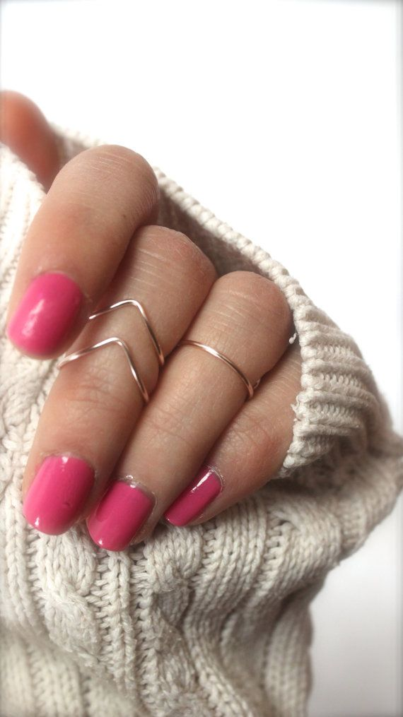 Rose Gold Knuckle Ring Set by DesignedByLei on Etsy
