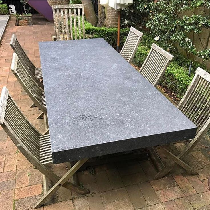 This outdoor table is made from Neolith Pierre Blue, by @interspace.design.australia . Neolith is perfect for outdoors because it is so hardy.  #cdkstone #neolith #pierreblue #neolithpierreblue #sinteredcompactsurface #extraordinarysurface #scratchresistant #stainresistant #heatresistant #coldresistant #resistanttouvfading #lithofinaustralia