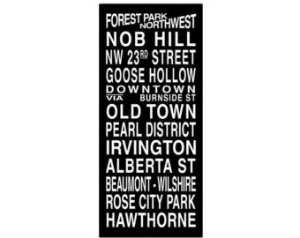 Portland Destination Roll / Subway Scroll / Tram Banner / Bus Schedule 22in x  50in - Ready to Hang