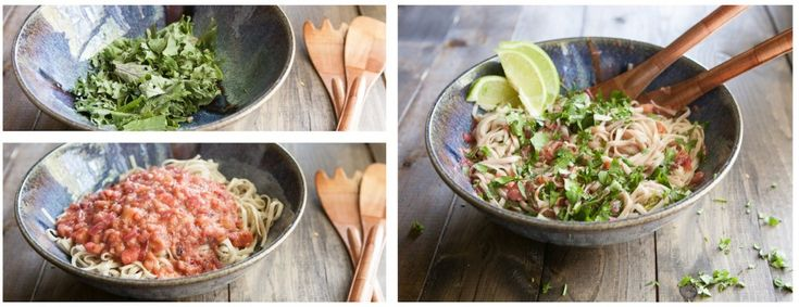 Naturally Ella | Noodles with Kale and Spicy Rhubarb Sauce