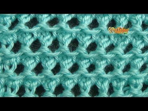 Cómo Tejer Punto ESLABON CALADO - 2 agujas (291) - YouTube