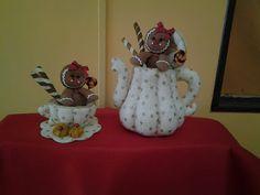bule e xícara de feltro e tecido com molde 1