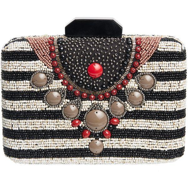 MALIPARMI Pattina Beaded Stripe Clutch (18.305 RUB) ❤ liked on Polyvore featuring bags, handbags, clutches, tribal purse, bohemian handbags, metallic handbags, strap purse and striped purse