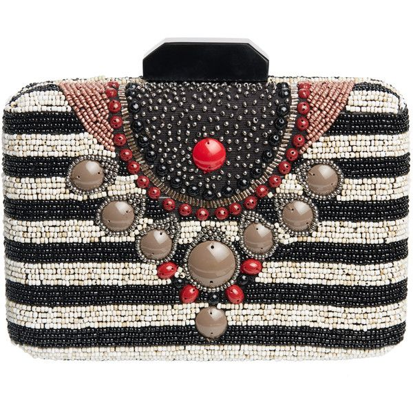 MALIPARMI Pattina Beaded Stripe Clutch (€280) ❤ liked on Polyvore featuring bags, handbags, clutches, tribal handbags, metallic clutches, strap purse, beaded purse and striped purse