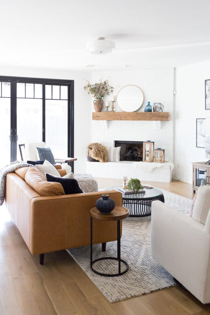 Round Coffee Tables You Need To See Allisa Jacobs Farm House Living Room Modern Farmhouse Living Room White Brick Fireplace [ 1104 x 736 Pixel ]