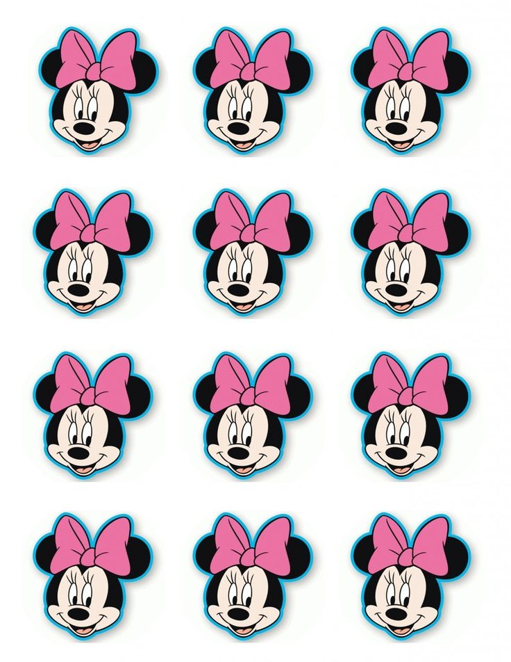 """2.5"""" Minnie Mouse Cupcake Edible Icing Toppers #1"""