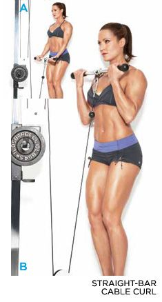 cable bicep curl 3-6 sets, 10-20 reps, increase weight 5-10lbs.