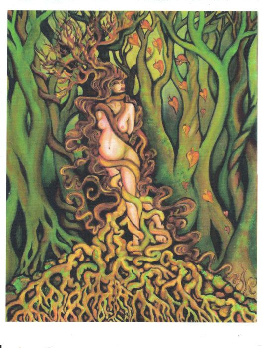 Dryad Tree Goddess PRINTED FABRIC PANEL. Feature panel by elkeart