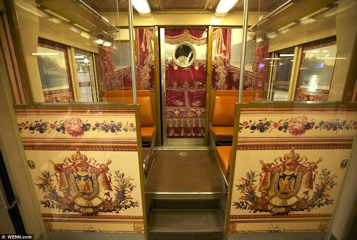 The train from the center of Paris to the Palace of Versailles.  Ornate images can be found on the back of comfortable seats