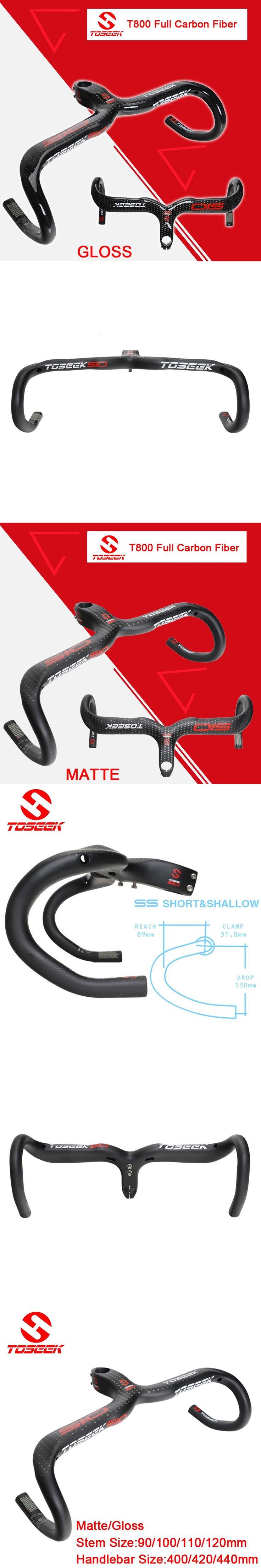 TOSEEK full carbon fiber handlebar road bike bent bar manillar integrado del manillar de la bicicleta Brillante/mate bike parts