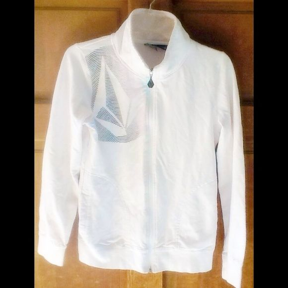 Volcom white zip up sweater♦️ In great condition has a nice high collar to pop for style or to keep warm Volcom Sweaters