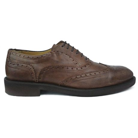 Zapato oxford con pala vega en color marrón envejecido de Ashcroft. Vista lateral