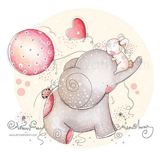 Children Illustration - Nursery - love and friendship, baby elephant and bunny- ShivaIllustrations