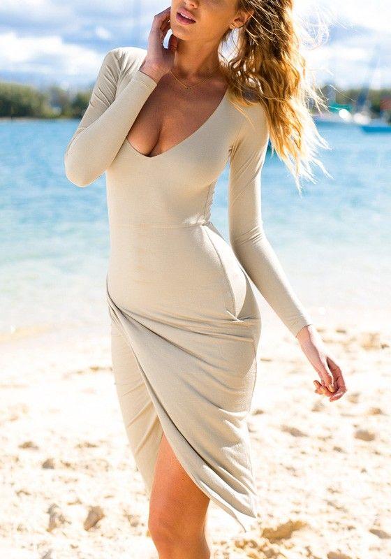 Apricot Draped Wrap Dress