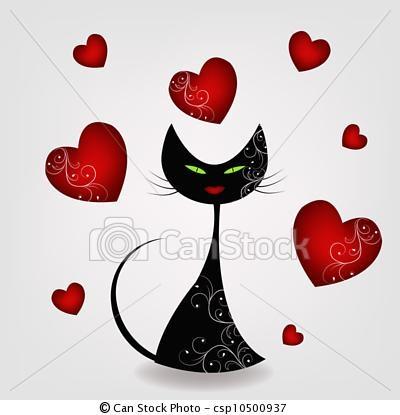 Vetor - pretas, gato, corações - estoque de ilustração, ilustrações royalty free, banco de ícone clip arte, banco de ícones clip arte, fotos EPS, fotos, gráfico, gráficos, desenho, desenhos, imagem vetorial, arte vetor EPS.