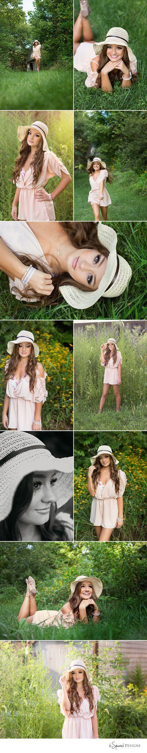 d-Squared Designs St. Louis, MO Senior Photography. Country girl senior. Gorgeous senior. Senior posing ideas. Romper and hat outfit. Summer senior girl.