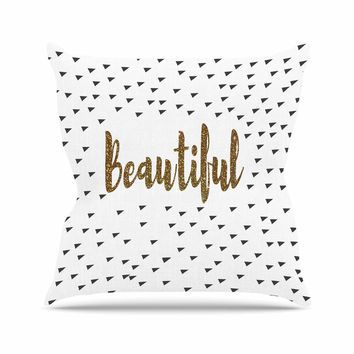 "Suzanne Carter ""Beautiful"" Gold Typography Throw Pillow"