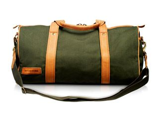 Green Canvas and Leather Explorer Bag.      £175.00        Available in Tan Canvas, Green Canvas, Brown Nappa Leather and Tan Pull Up Leather