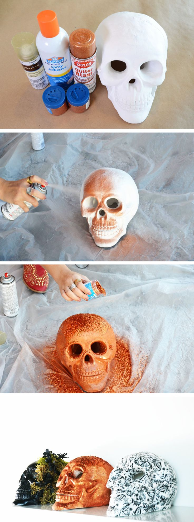 Glittery, glamorous Halloween decor! DIY some skulls with major sparkle for your haunted home!