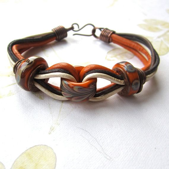 Beaded leather copper bracelet lampwork beads by THEAjewellery, £35.00