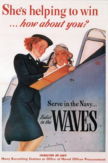 """wwii usn wave ring   WAVES recruiting poster, """"She's helping to win…how"""