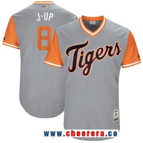 Men's Detroit Tigers Justin Upton -J-Up- Majestic Gray 2017 Little League World Series Players Weekend Stitched Nickname Jersey