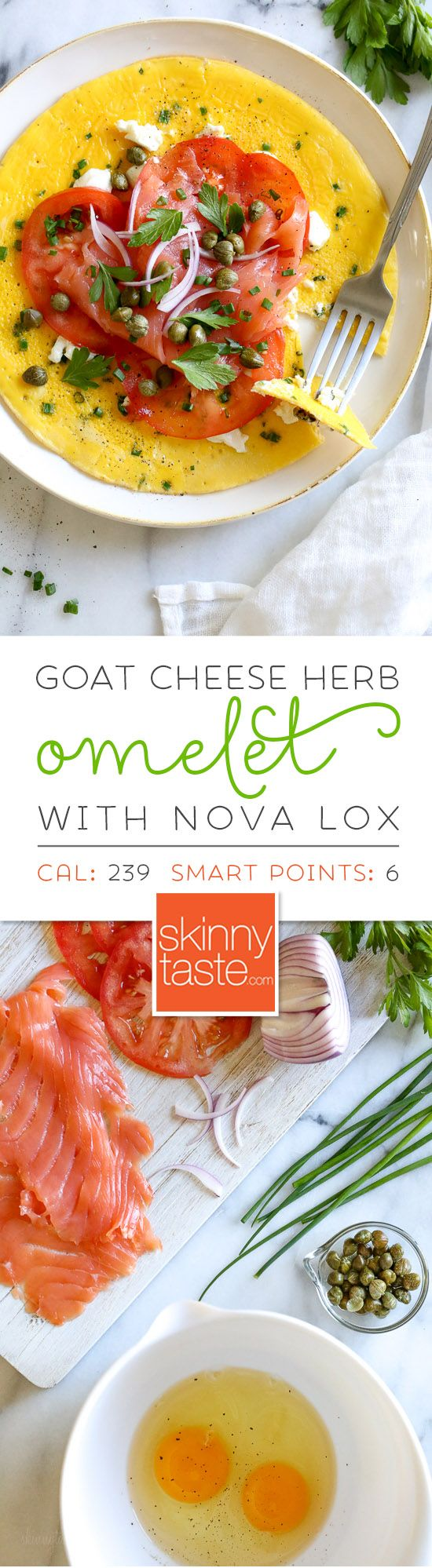 This Goat Cheese Herb Omelet topped with Nova Lox, sliced tomatoes and capers satisfies my bagel-and-lox craving, without the bagel! SO quick, takes about 5 minutes to make!