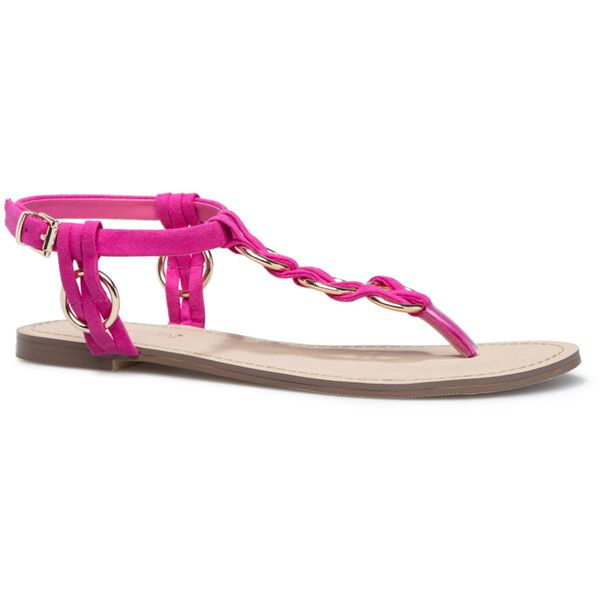 ShoeDazzle Flat Sandals Yasha Womens Pink ❤ liked on Polyvore featuring shoes, sandals, flat sandals, pink, flat t-strap sandals, t-strap shoes, gold flat sandals, pink shoes and gold flat shoes