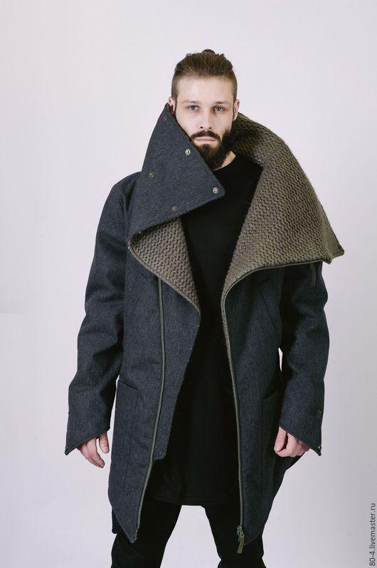 Men's winter jacket / Верхняя одежда ручной работы. Ярмарка Мастеров - ручная работа. Купить Зимняя мужская куртка серая с вязаным воротником. Handmade.
